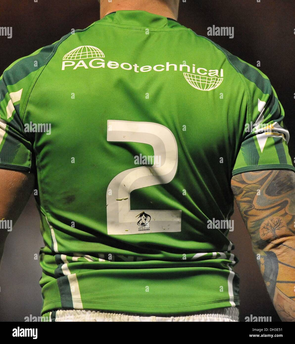 f3723e7f63a99 Back of Damien Blanch (Ireland) shirt - Fiji v Ireland - Group A - Rugby  League World Cup 2013 - Spotland Stadium, Rochdale, England.
