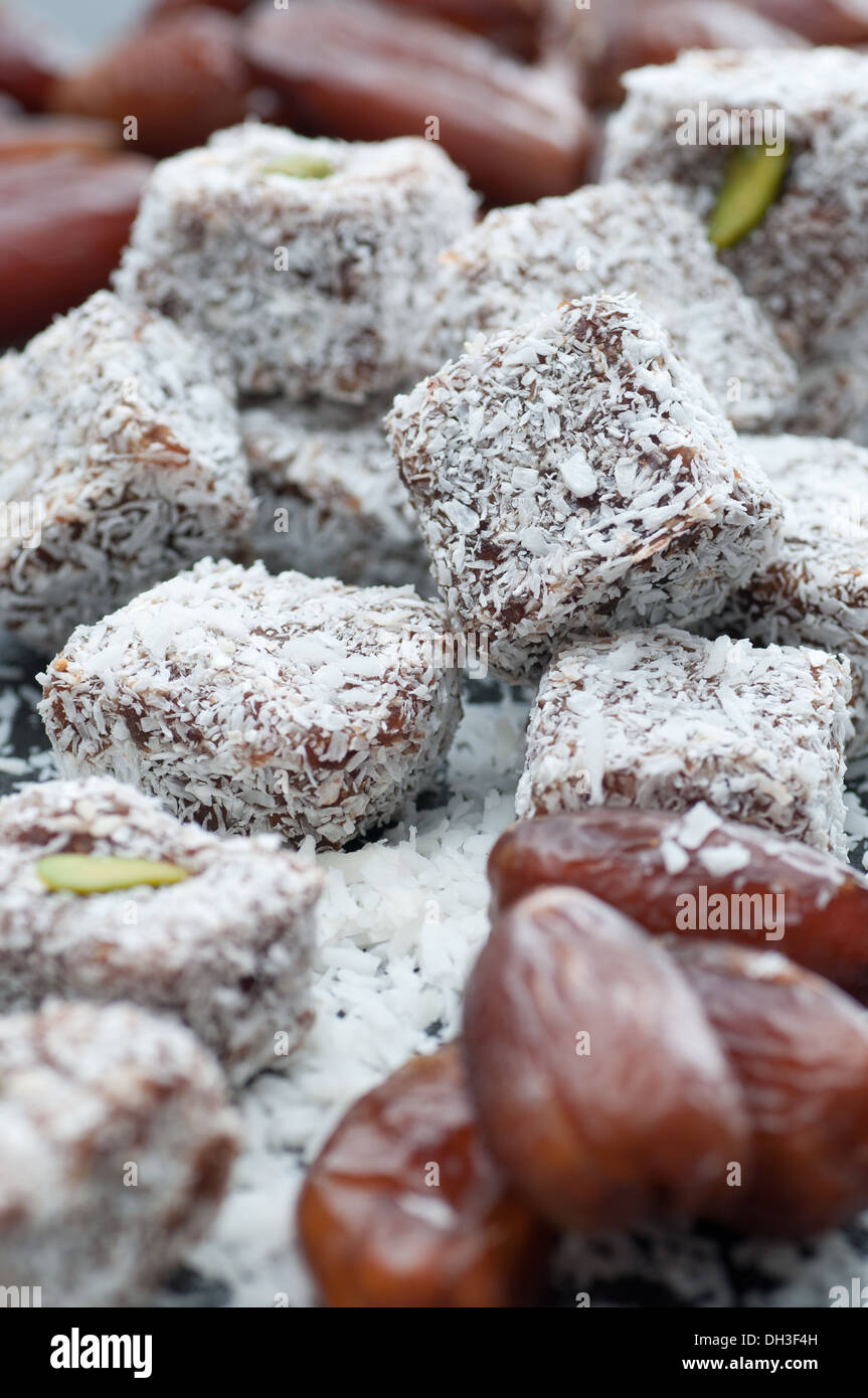 Date squares with shredded coconut. - Stock Image