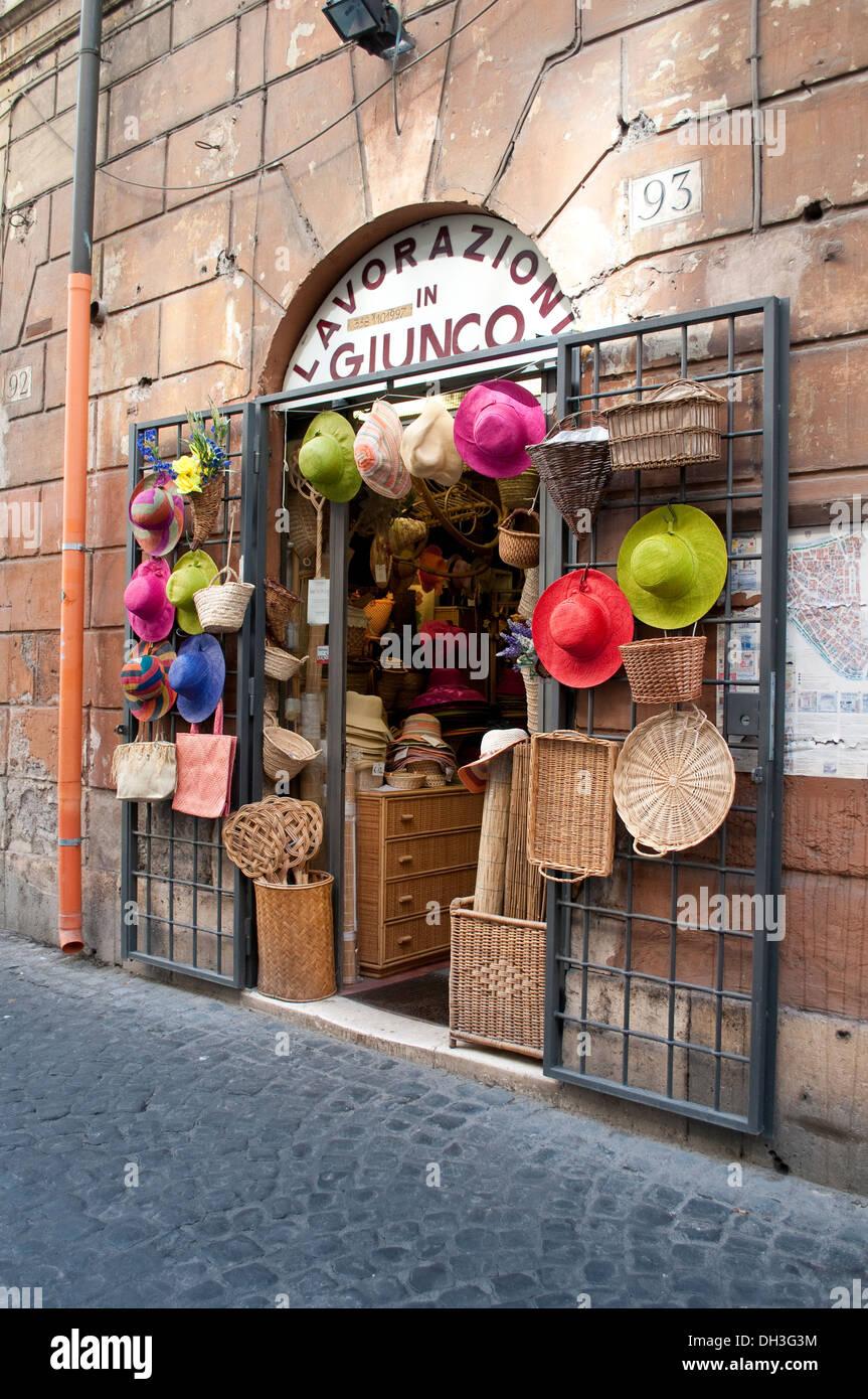 8ea86813 Shop with straw hats and other straw products in Via del Pellegrino in  Campo de' Fiori quarter, Rome, Italy