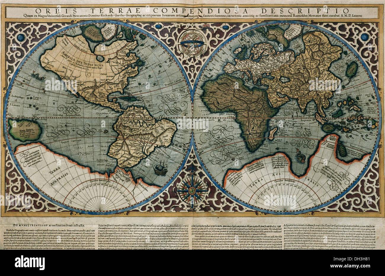 Orbis Terrae Compendiosa Descriptio. World map, 1587. By Rumold Mercator  (1545-