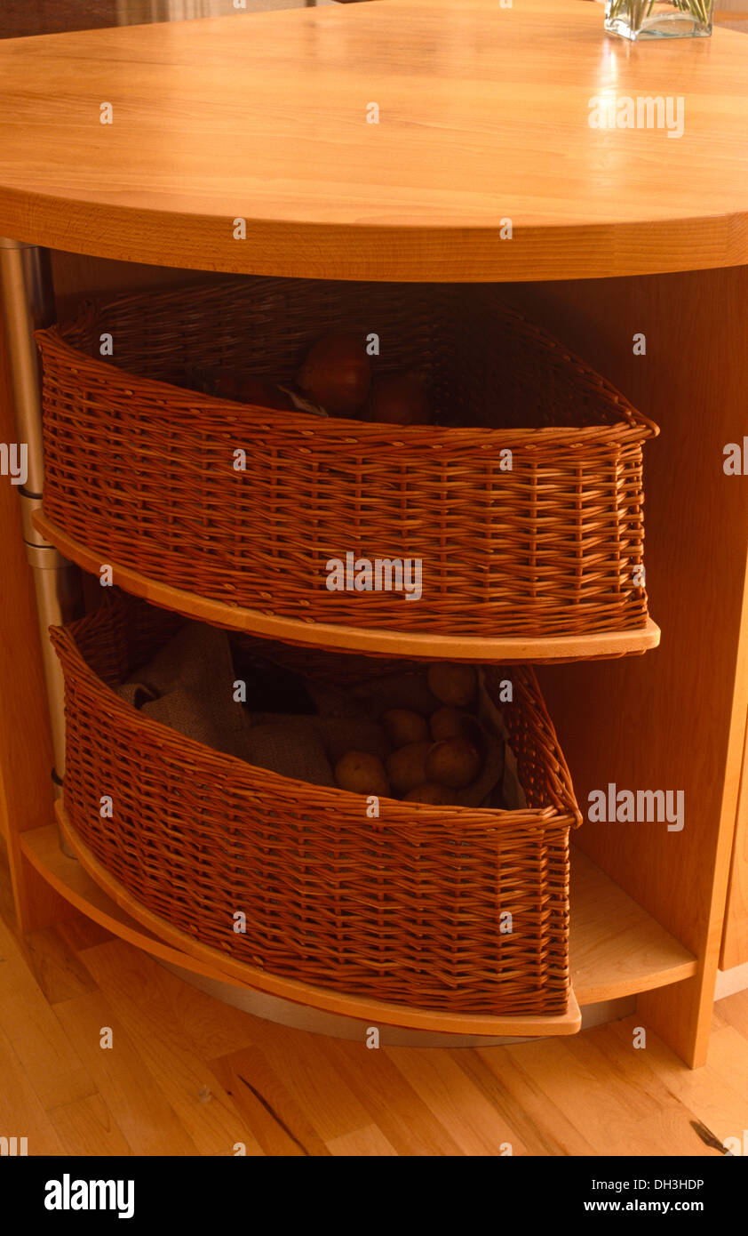 Attrayant Close Up Of Wicker Storage Baskets In Curved Corner Unit In Modern Kitchen