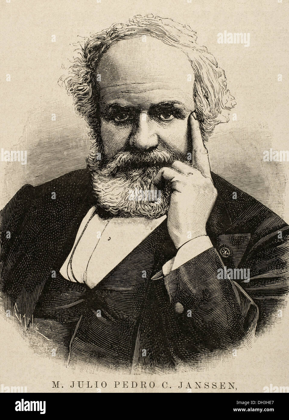 Pierre Janssen (1824-1907). French astronomer. Engraving by Capuz in The Spanish and American Illustration, 1892. - Stock Image
