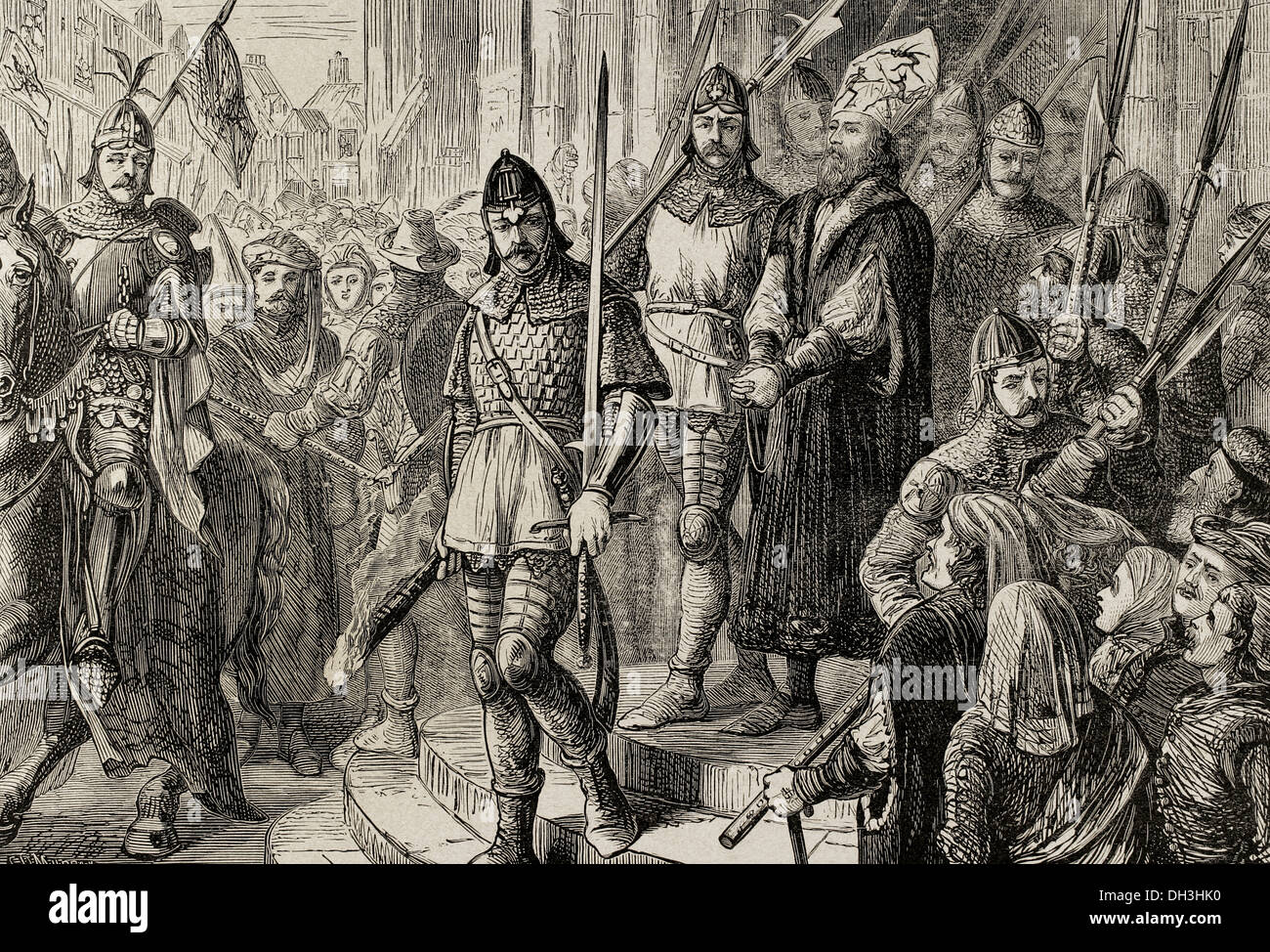 Jerome of Prague (1360-1416). Bohemian preacher. Jerome of Prague marching to execution. Engraving. - Stock Image