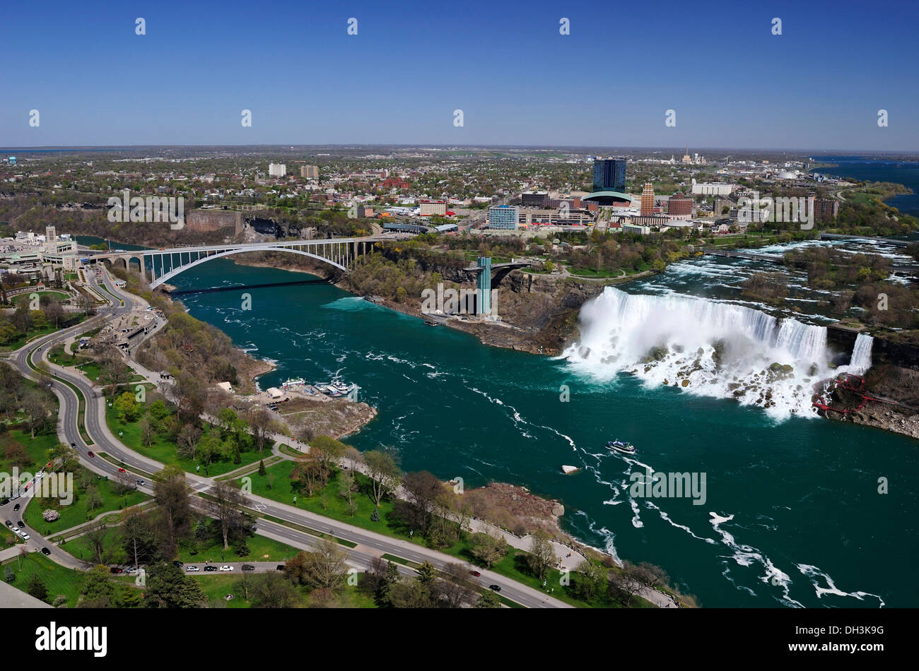 Niagara Falls with a view of the Americans side from Ontario, Canada - Stock Image