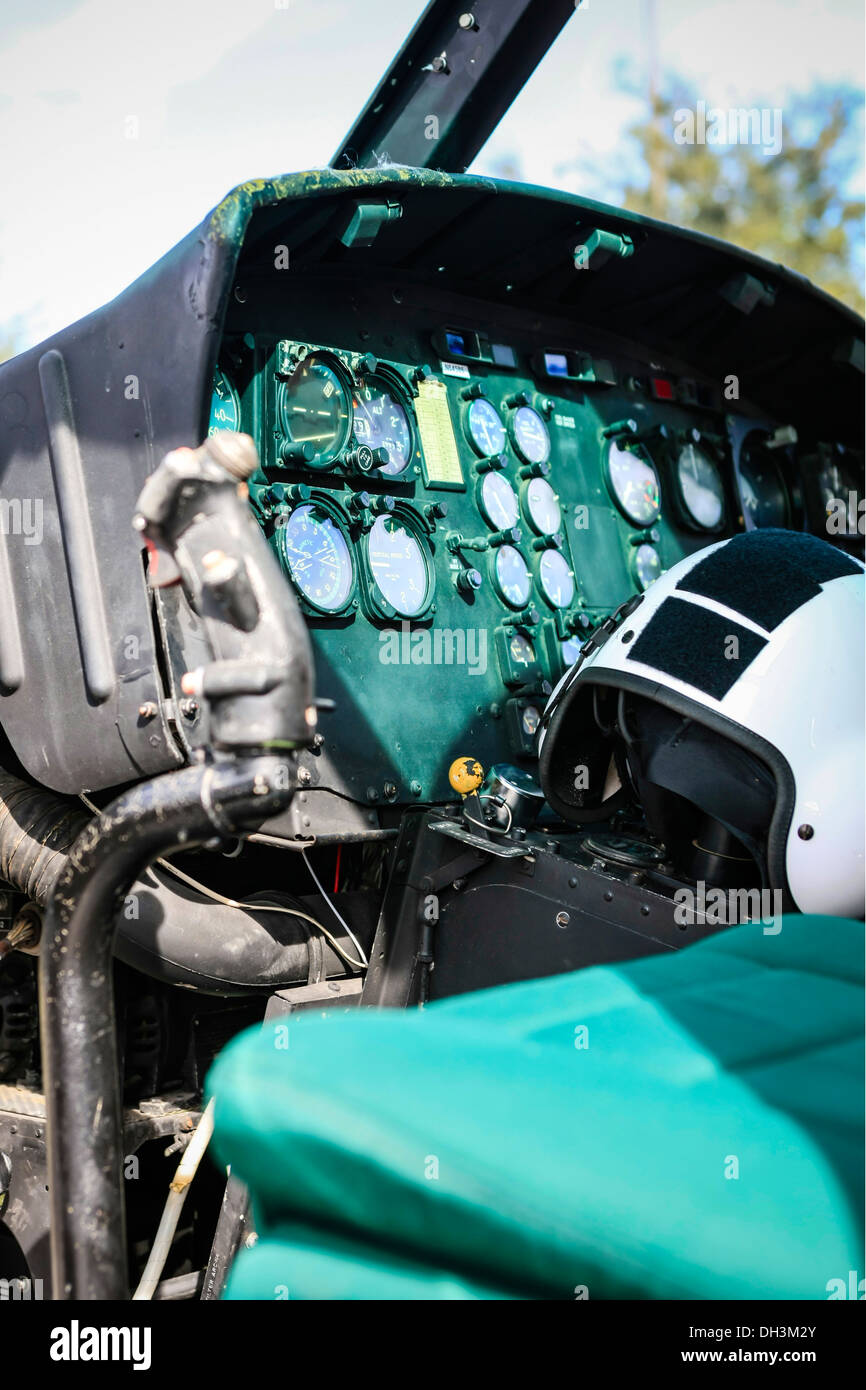 Old Bell Huey helicopter cockpit - Stock Image