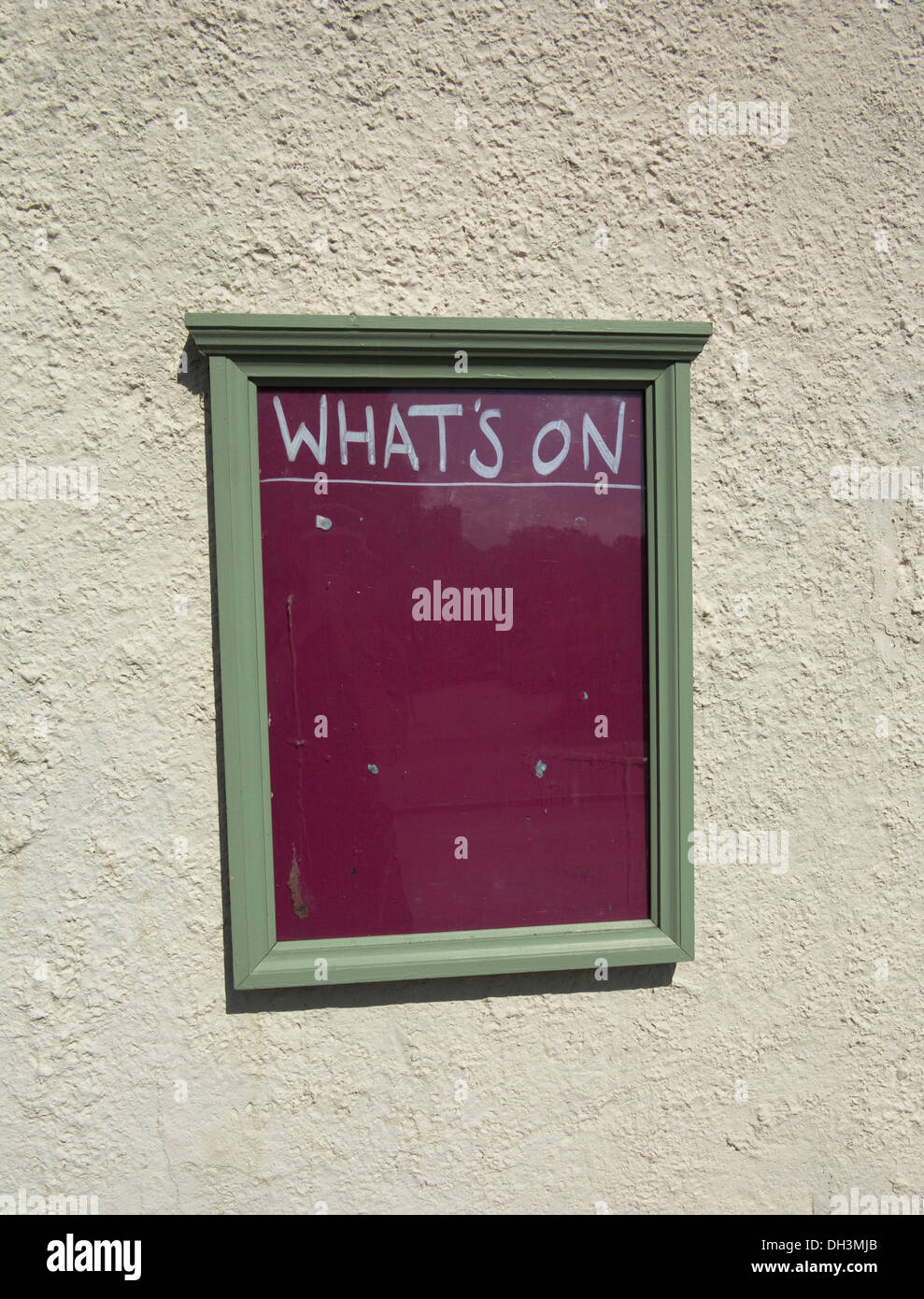 Blank What's On sign on wall outside country pub in Hassocks, Sussex, England, UK - Stock Image