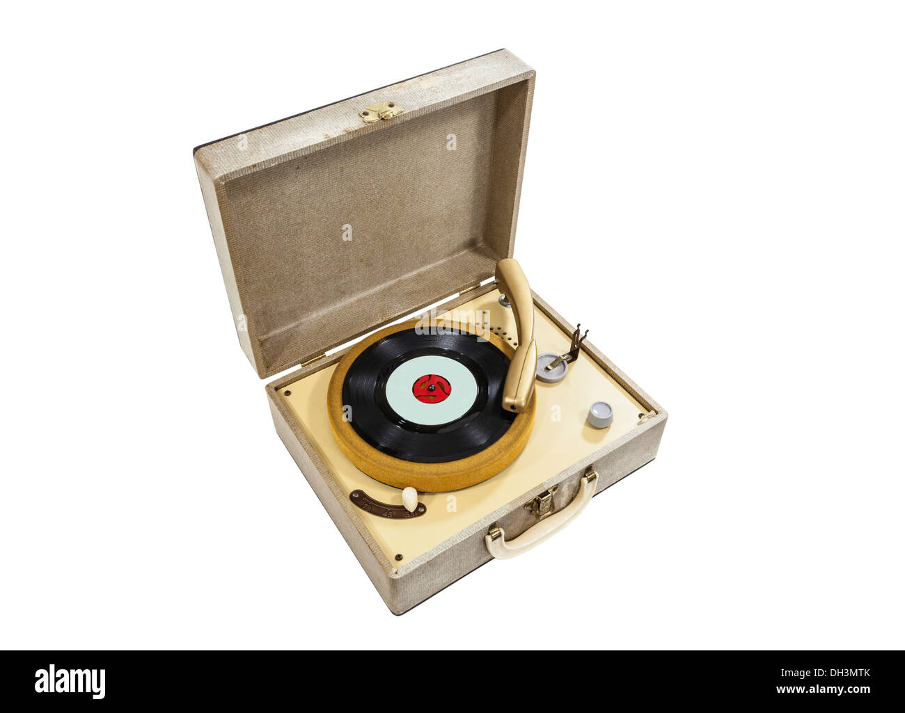 Grungy old record player isolated with clipping path. - Stock Image