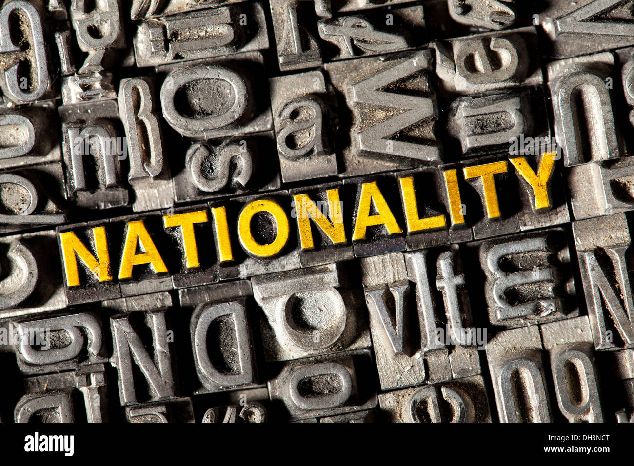 Old lead letters forming the word 'nationality' - Stock Image