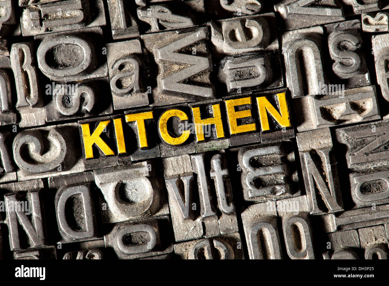 Old lead letters forming the word u0027KITCHENu0027