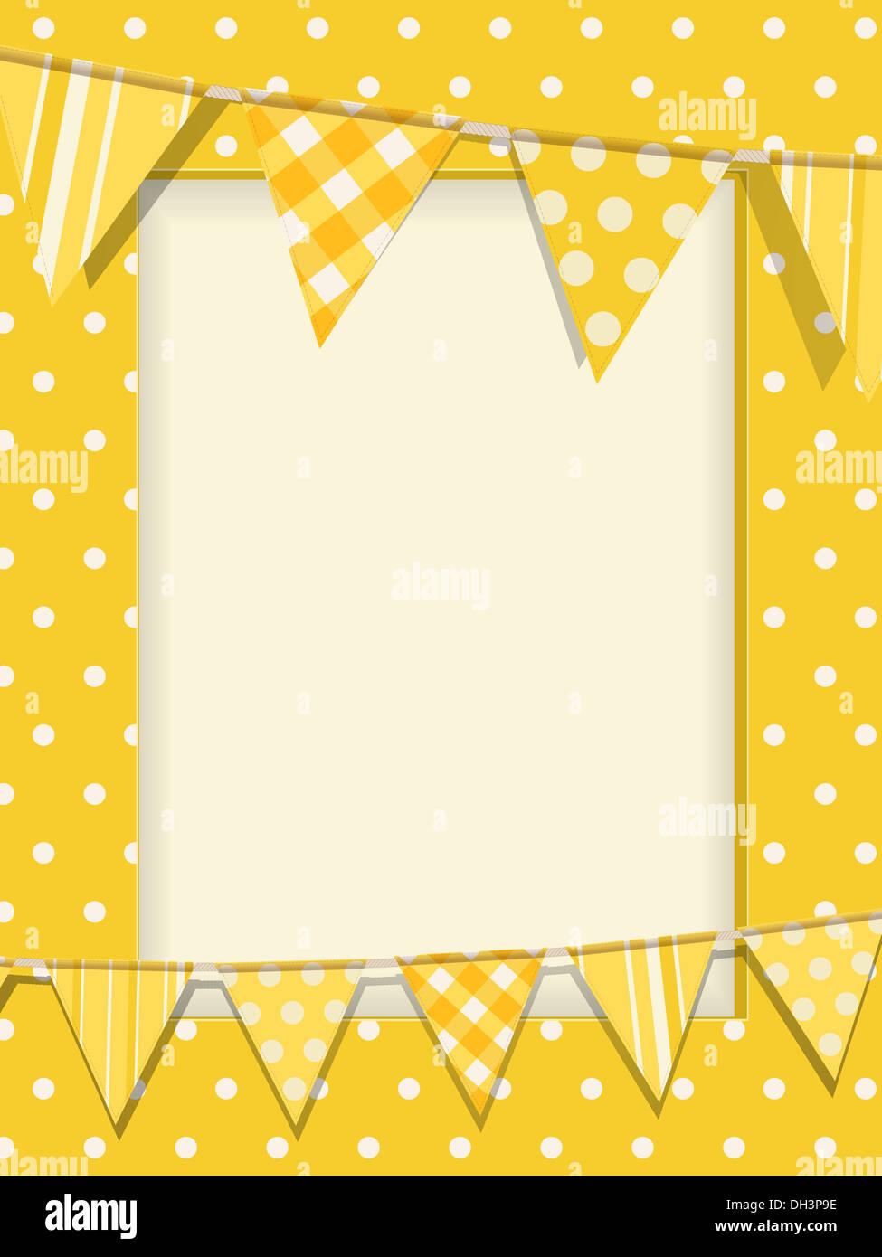 Bunting on a yellow polka dot frame Stock Photo: 62163626 - Alamy
