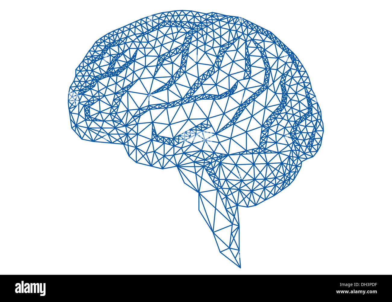 abstract blue human brain with geometric mesh pattern, vector illustration - Stock Image