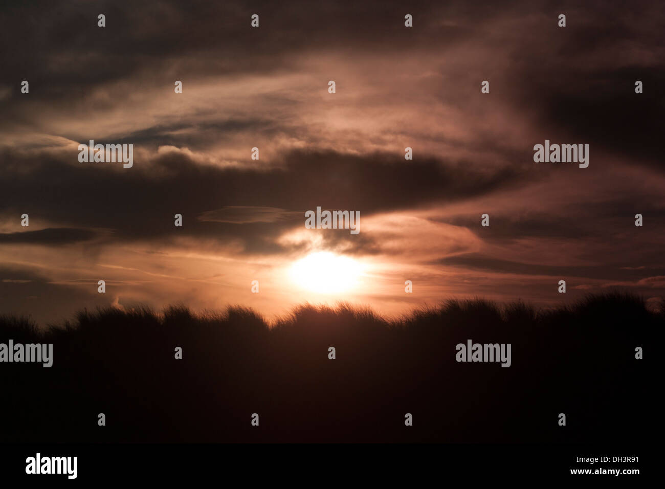 Sunrising over Hill - Stock Image