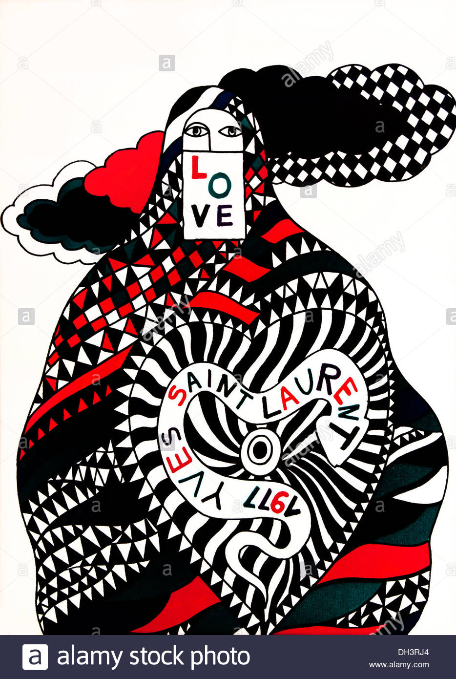 Yves Saint Laurent Love 1977 New Year Love Greeting Card Paris Stock