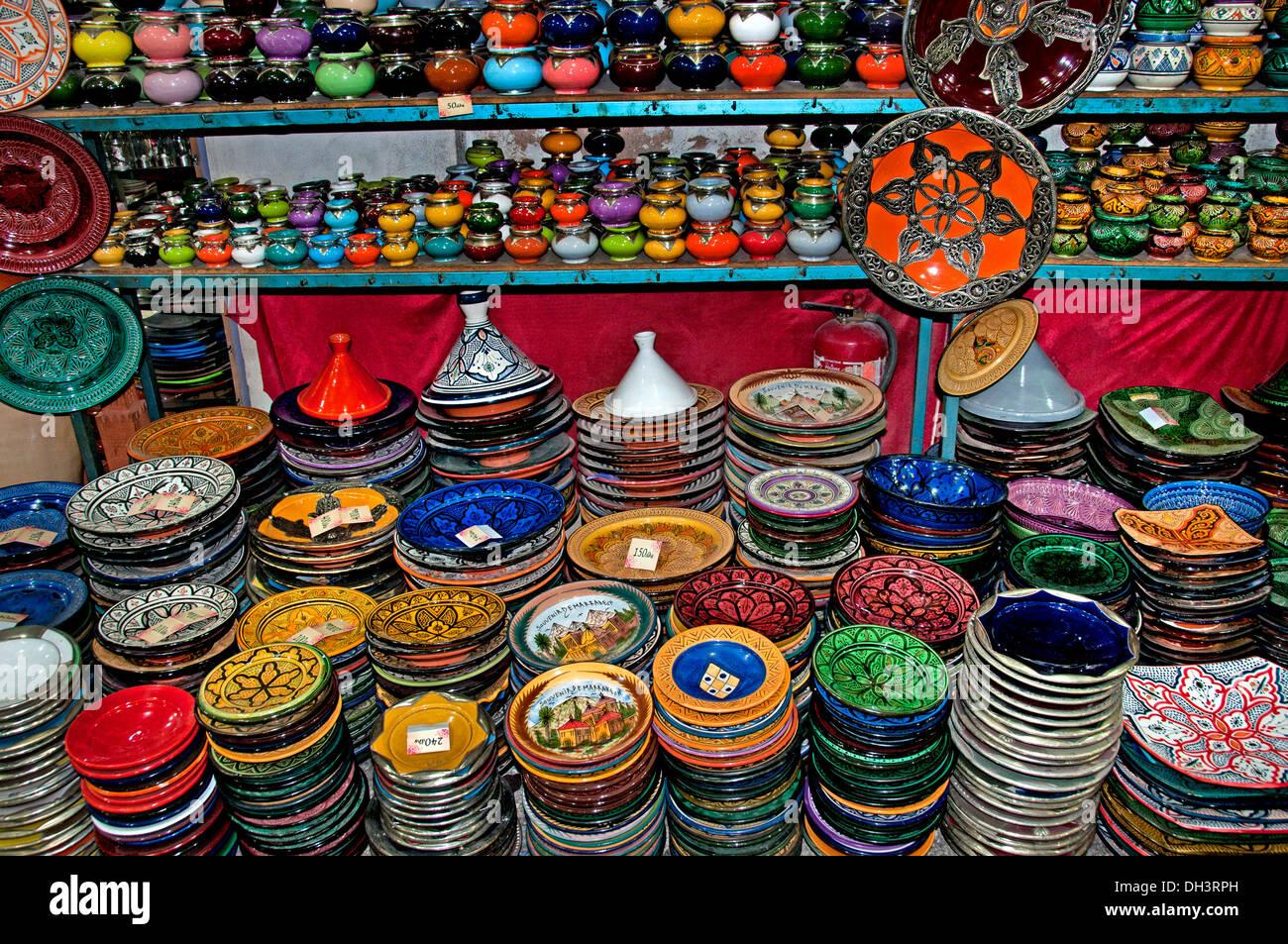 Antique Shop Marrakesh Morocco Medina Souk Market - Stock Image