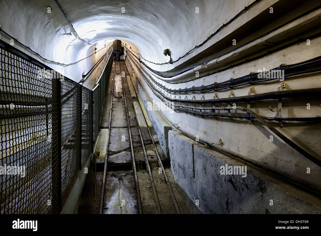 Inclined plane railway, Four à Chaux fortress, Maginot line. - Stock Image