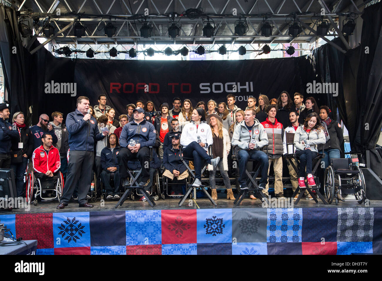USA Athletes at the USOC 100 Day Countdown to the Sochi 2014 Olympic Winter Games - Stock Image