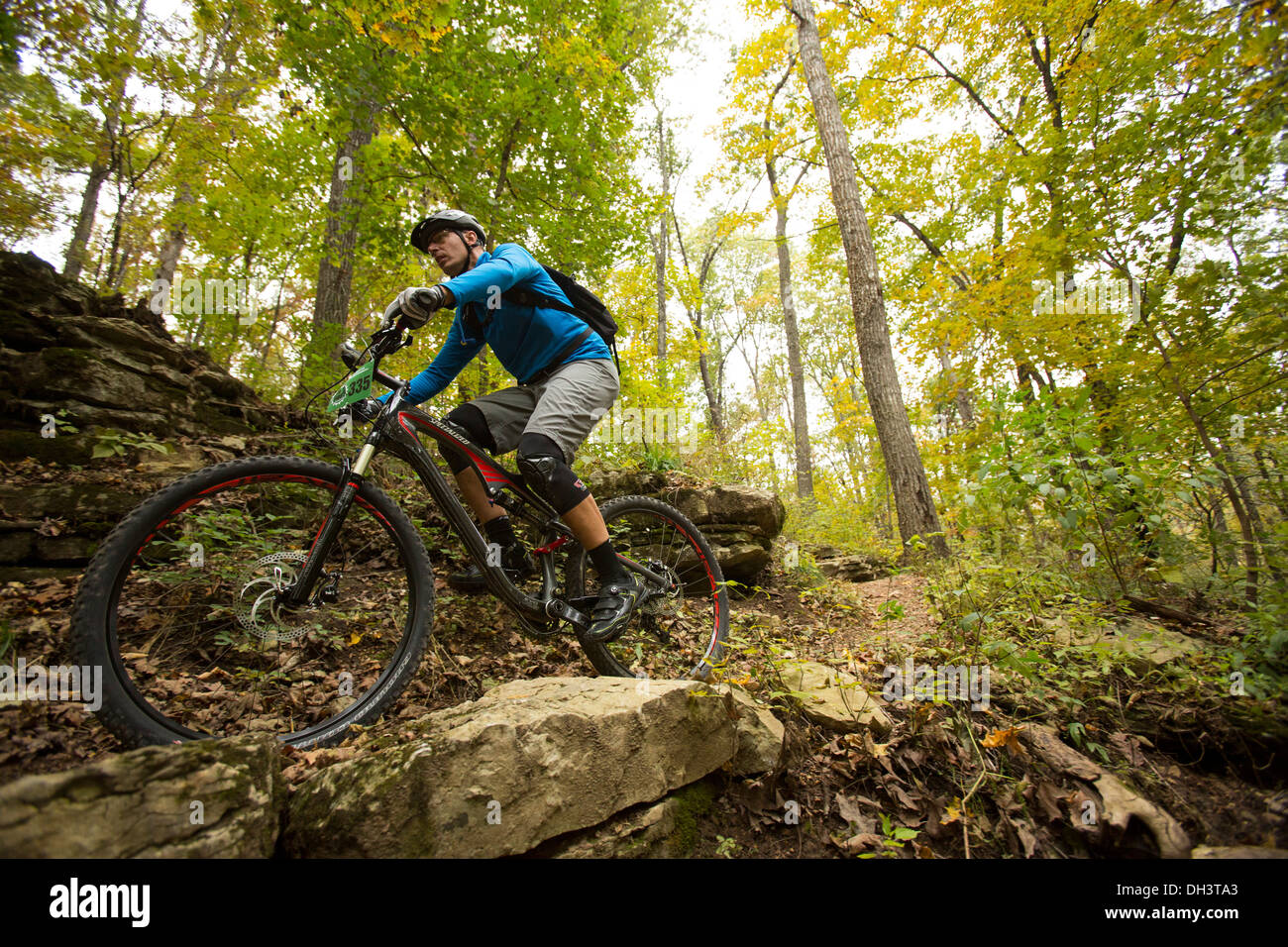 A mountain biker rides along a forest trail system at Blowing Springs Park in Bella Vista, Arkansas. Stock Photo