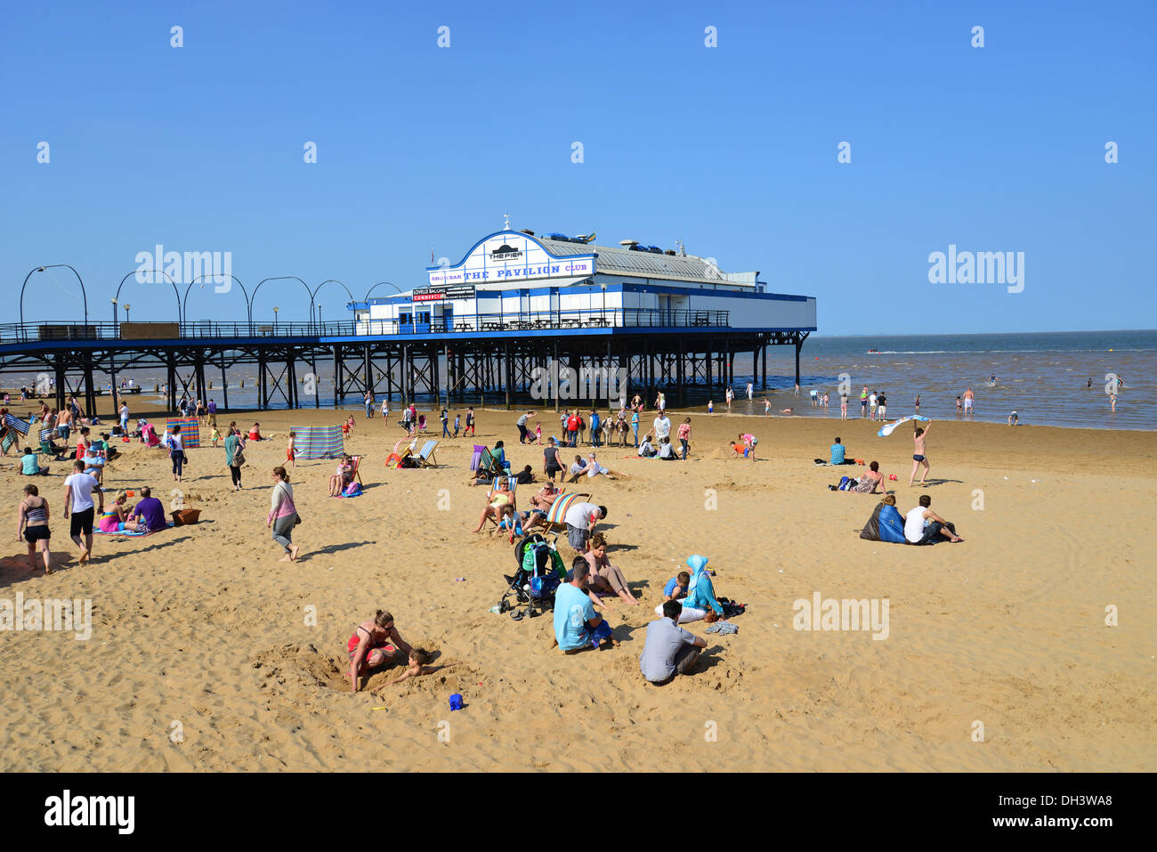 Cleethorpes Beach and Pier, Cleethorpes, Lincolnshire, England, United Kingdom - Stock Image