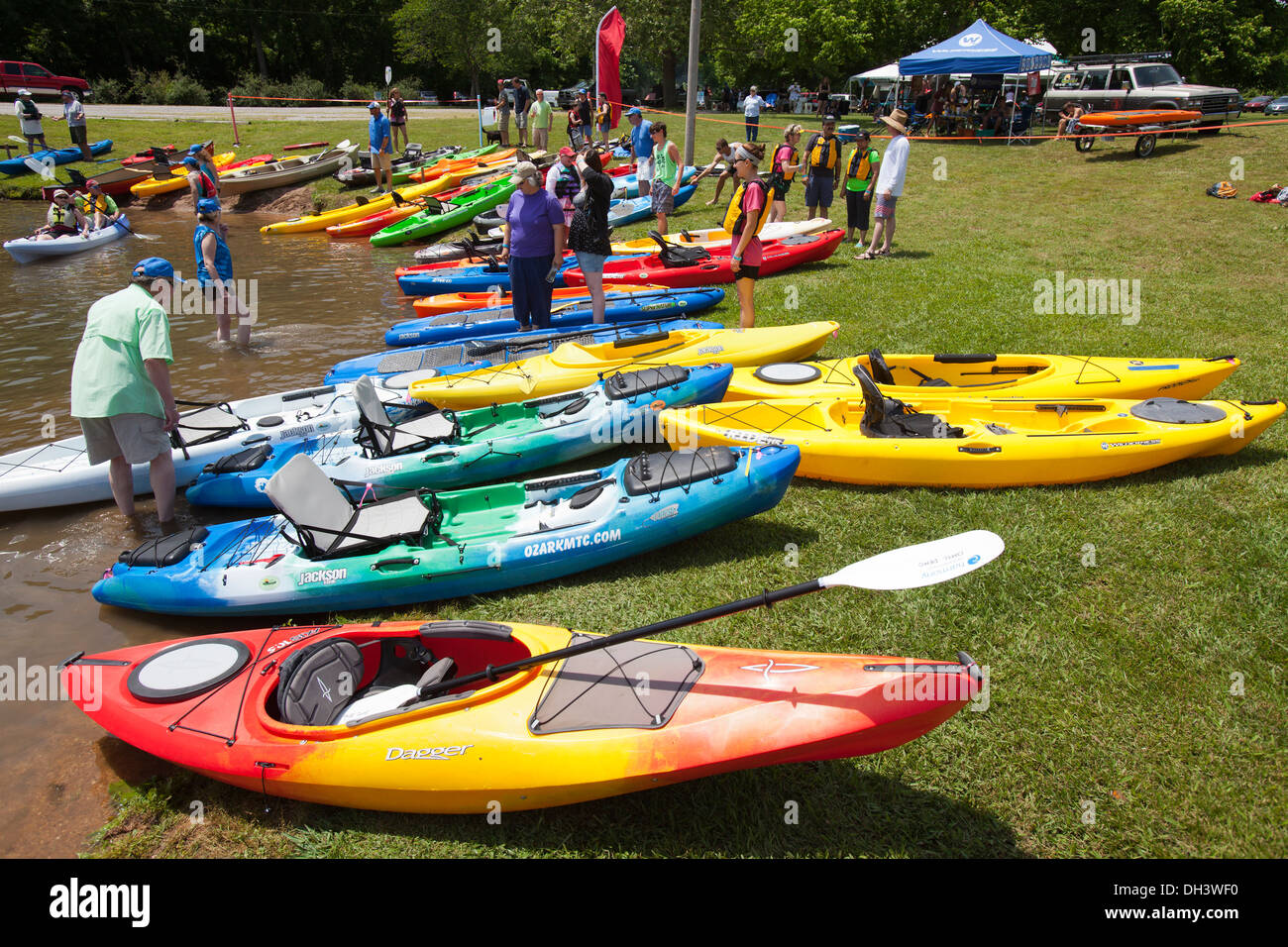 People attending a public kayaking event on a lake in Bella Vista, Arkansas, USA. Stock Photo