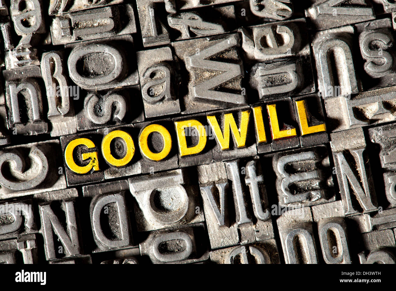 Old lead letters forming the word Goodwill - Stock Image