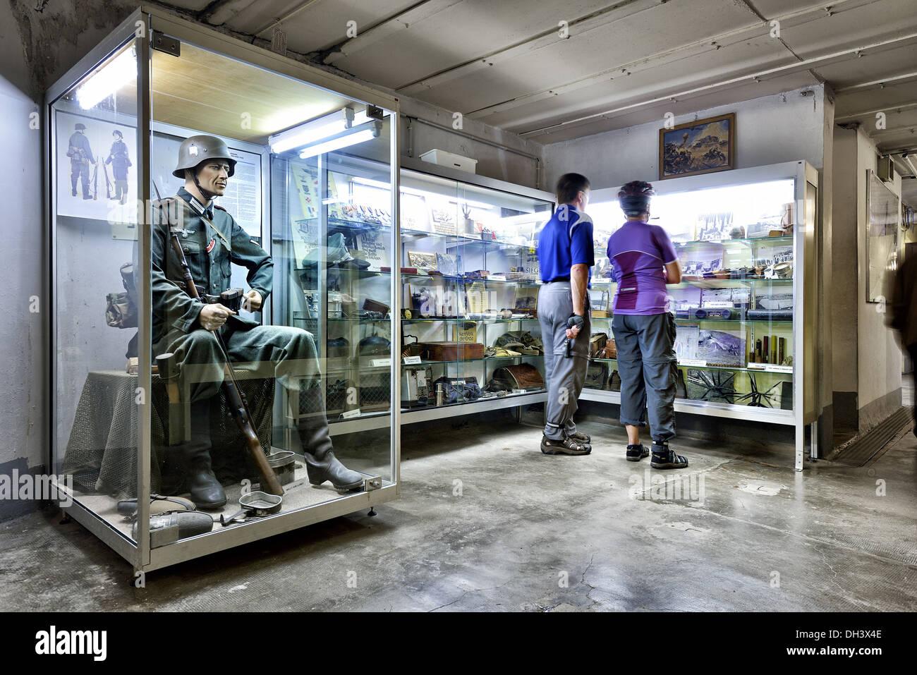 Museum rooms, Marckolsheim bunker, Maginot line. - Stock Image