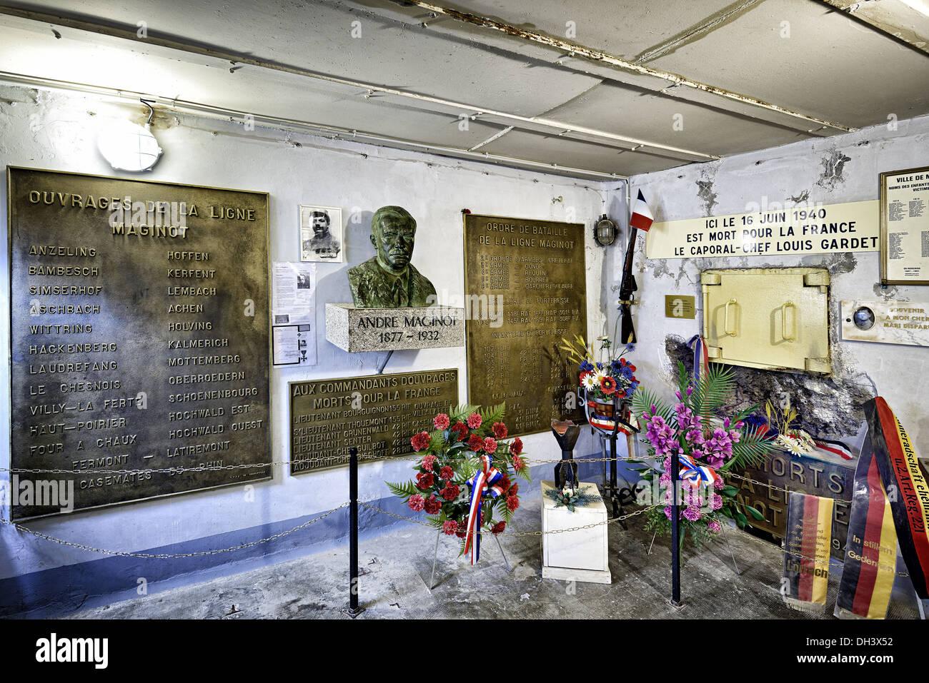 André Maginot Memorial, Marckolsheim bunker, Maginot line. - Stock Image