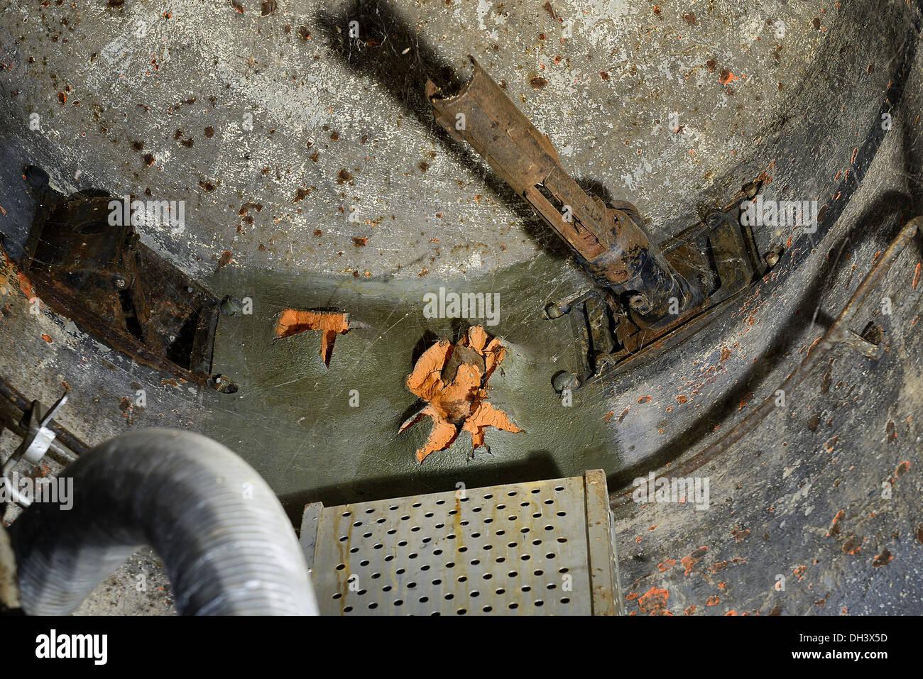 Inside a damaged cloche, Marckolsheim bunker, Maginot line. - Stock Image