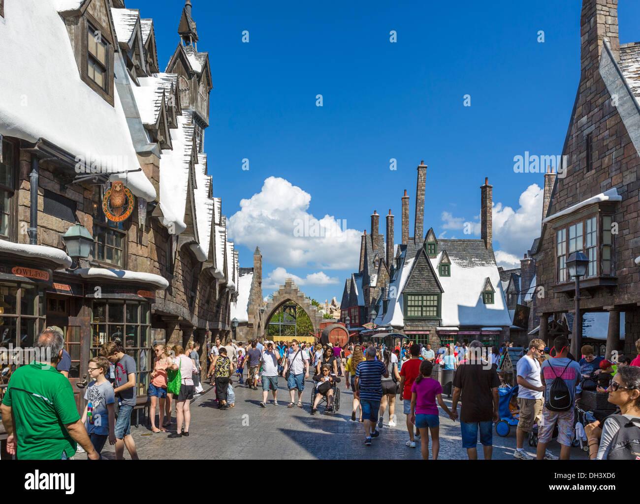 Hogsmeade in the Wizarding World of Harry Potter, Islands of Adventure, Universal Orlando Resort, Orlando, Central Florida, USA - Stock Image