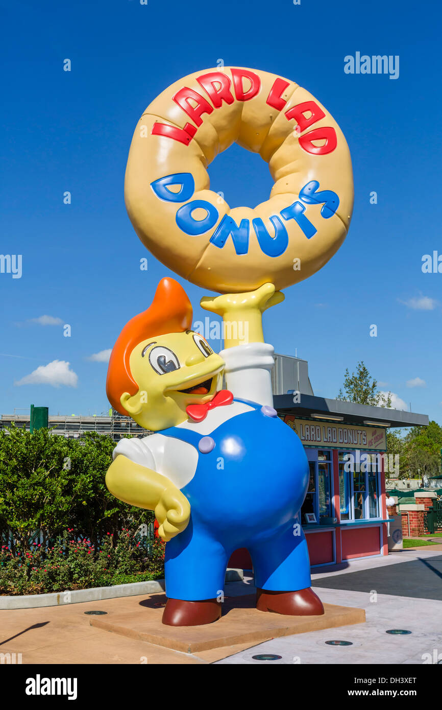 Lard Lad Donuts stand in the Simpsons area at Universal Studios, Universal Orlando Resort, Orlando, Central Florida, USA - Stock Image