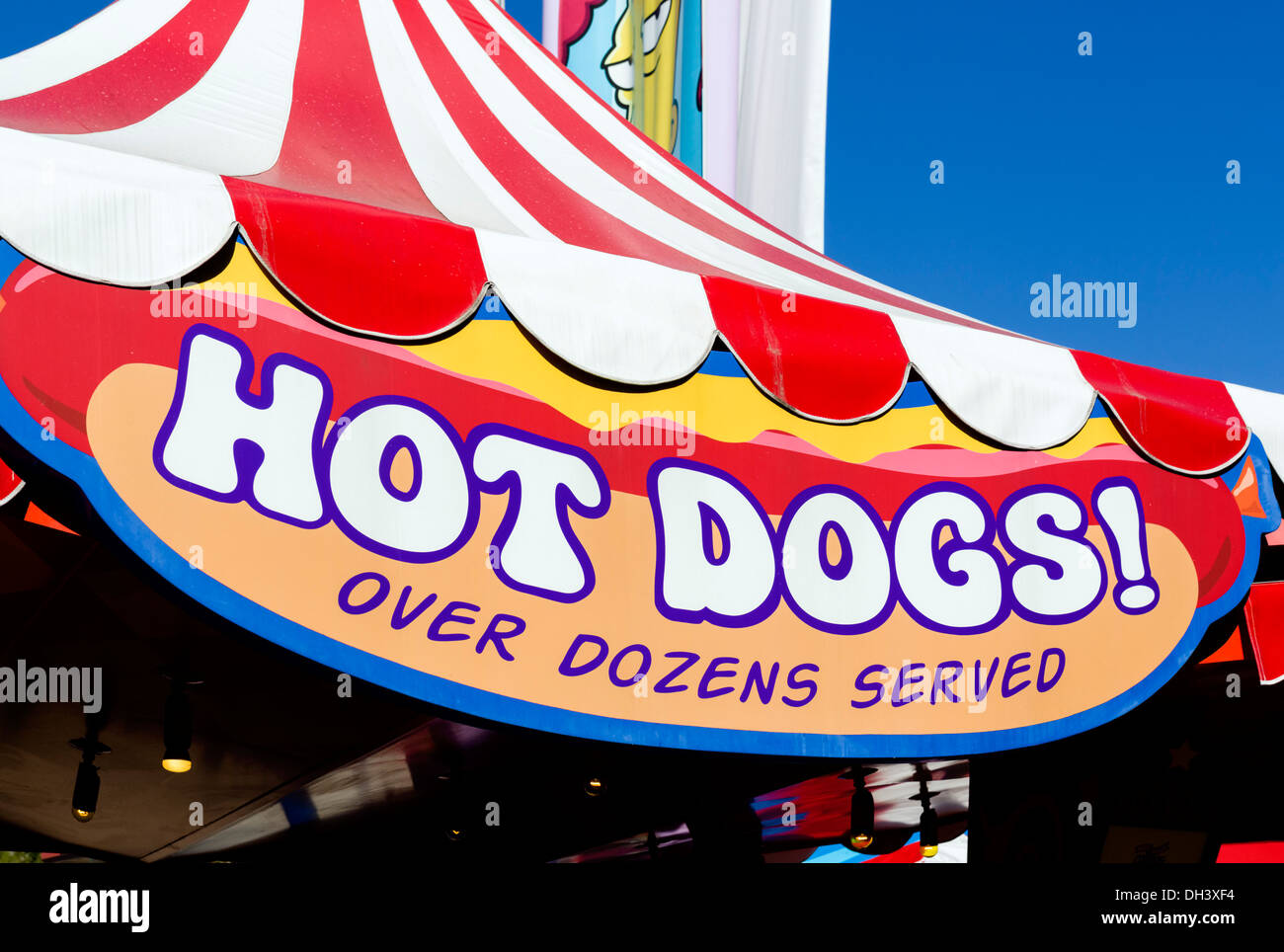 Hot dog stand in the Simpsons area at Universal Studios, Universal Orlando Resort, Orlando, Central Florida, USA - Stock Image