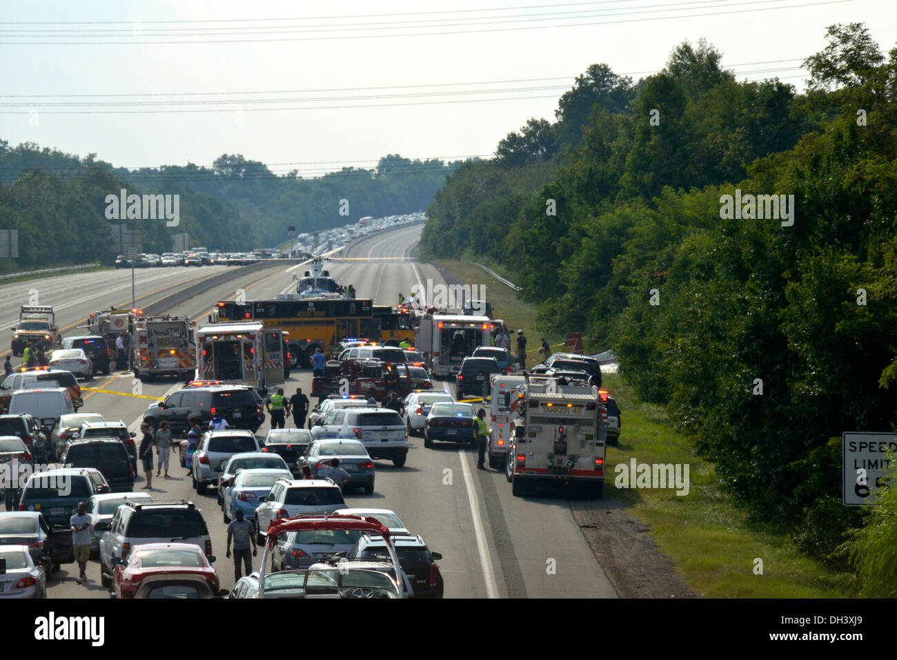 Traffic gridlock after crash on a highway in Bowie,Md - Stock Image