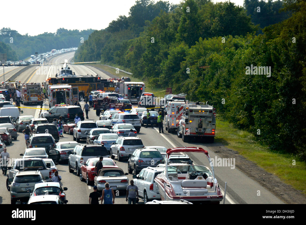 traffic,gridlock,crash,highway,emergency,911,Bowie - Stock Image