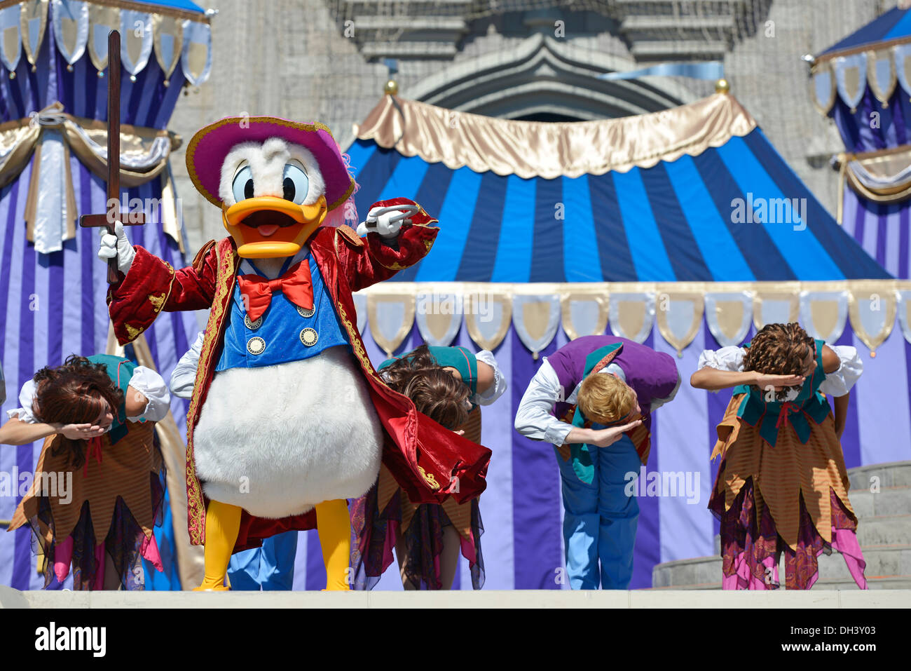 Donald Duck on stage, Dream Along Show at Cinderella Castle, Magic Kingdom, Disney World Resort, Orlando Florida - Stock Image