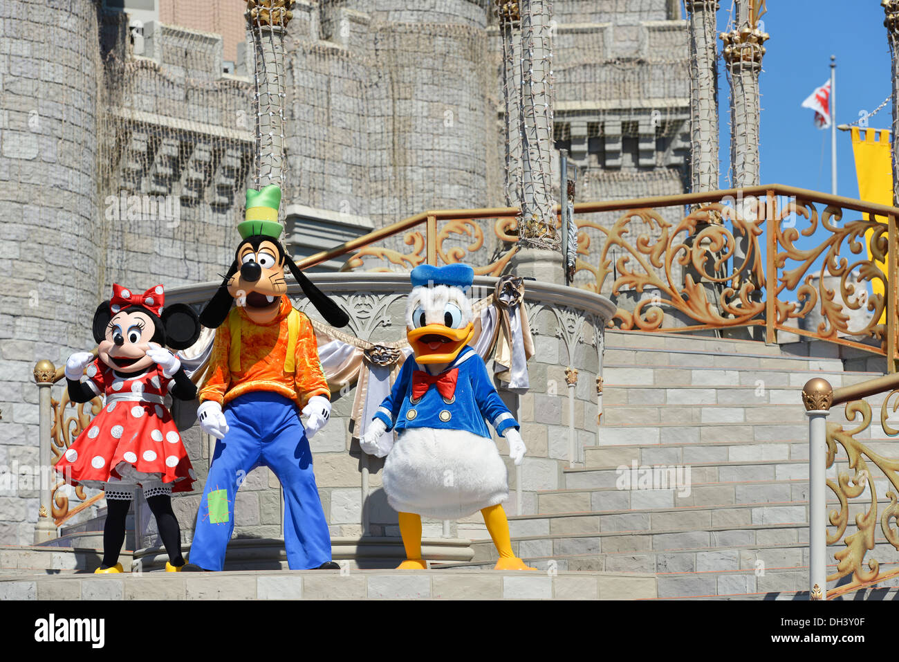 Minnie Mouse Goofy Donald Duck on Stage, Dream Along Show, Cinderella Castle, Magic Kingdom, Disney World, Orlando Florida - Stock Image
