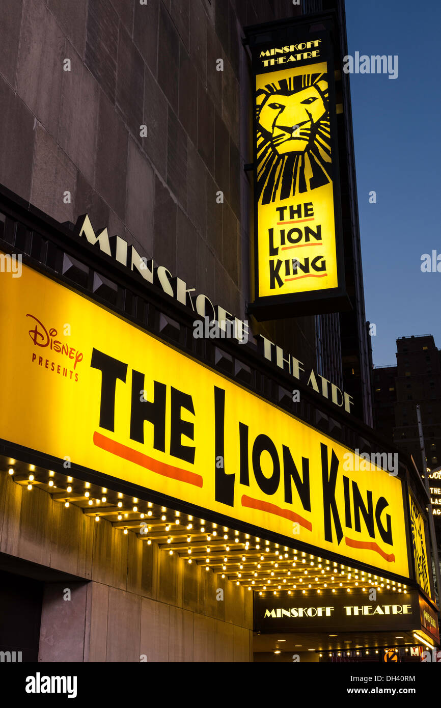 the lion king marquee at the minskoff theater nyc stock photo