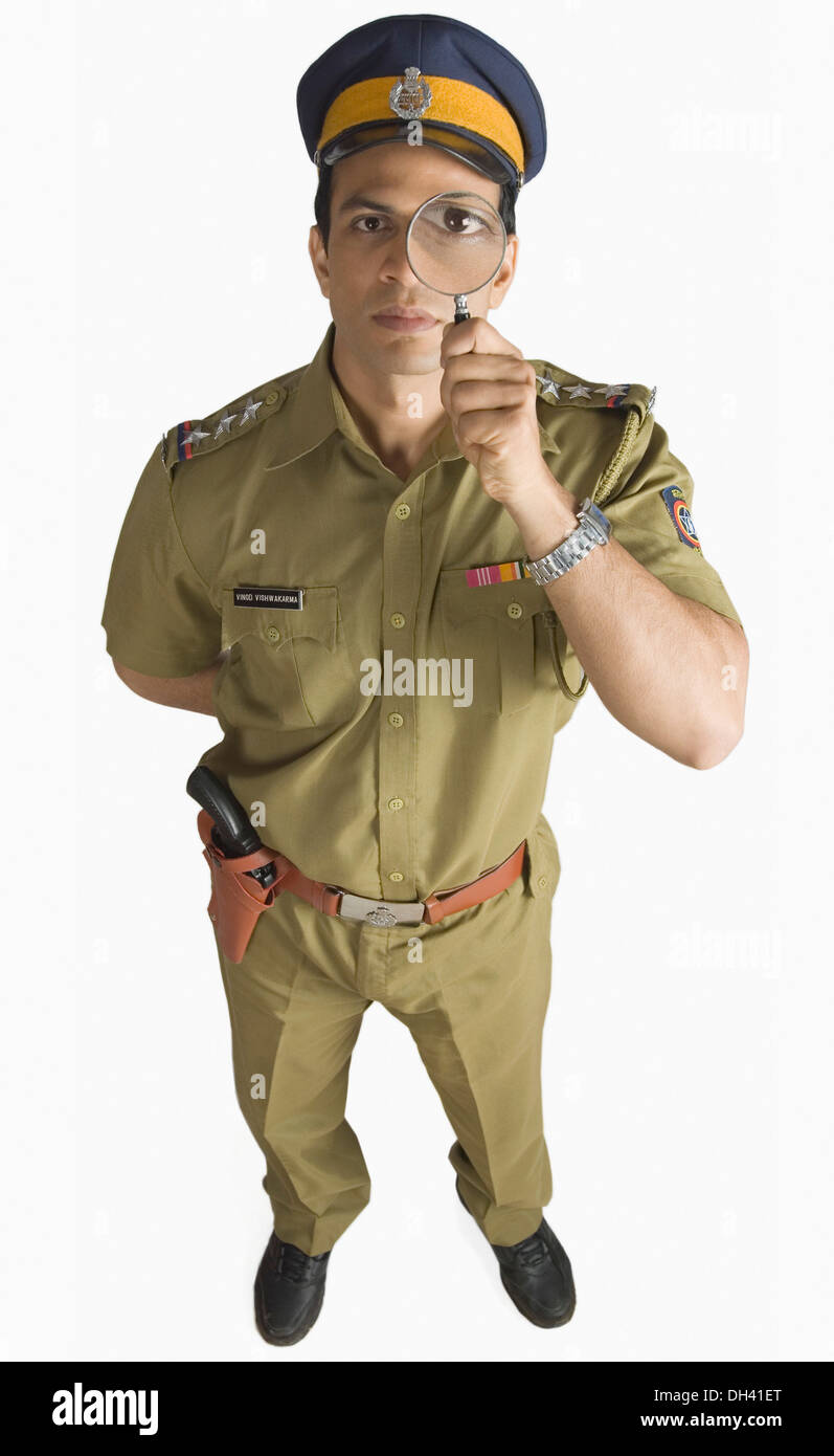 Indian Police Man Officer Standing Stock Photos & Indian