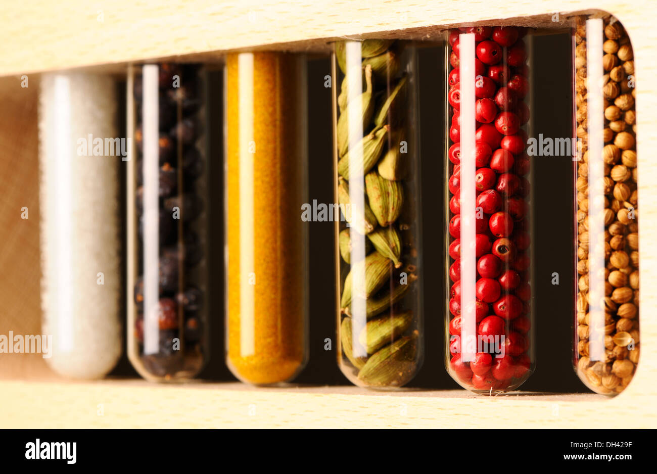 Spices in beakers Stock Photo