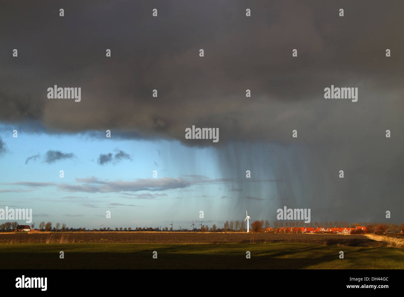 Thunderstorm over East Frisia - Stock Image