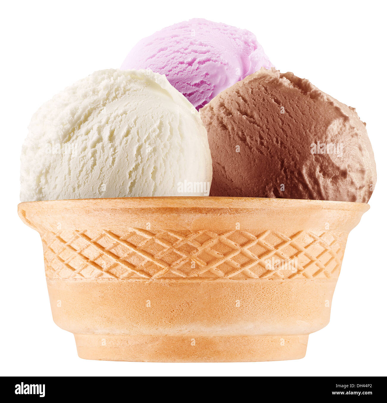 Colorful ice-creams in waffle cones. File contains working path. - Stock Image