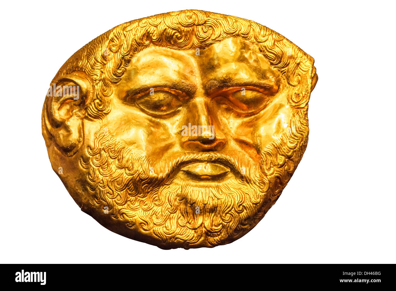 Gold mask of the Thracian king Teres, history museum, Kazanlak, Bulgaria - Stock Image