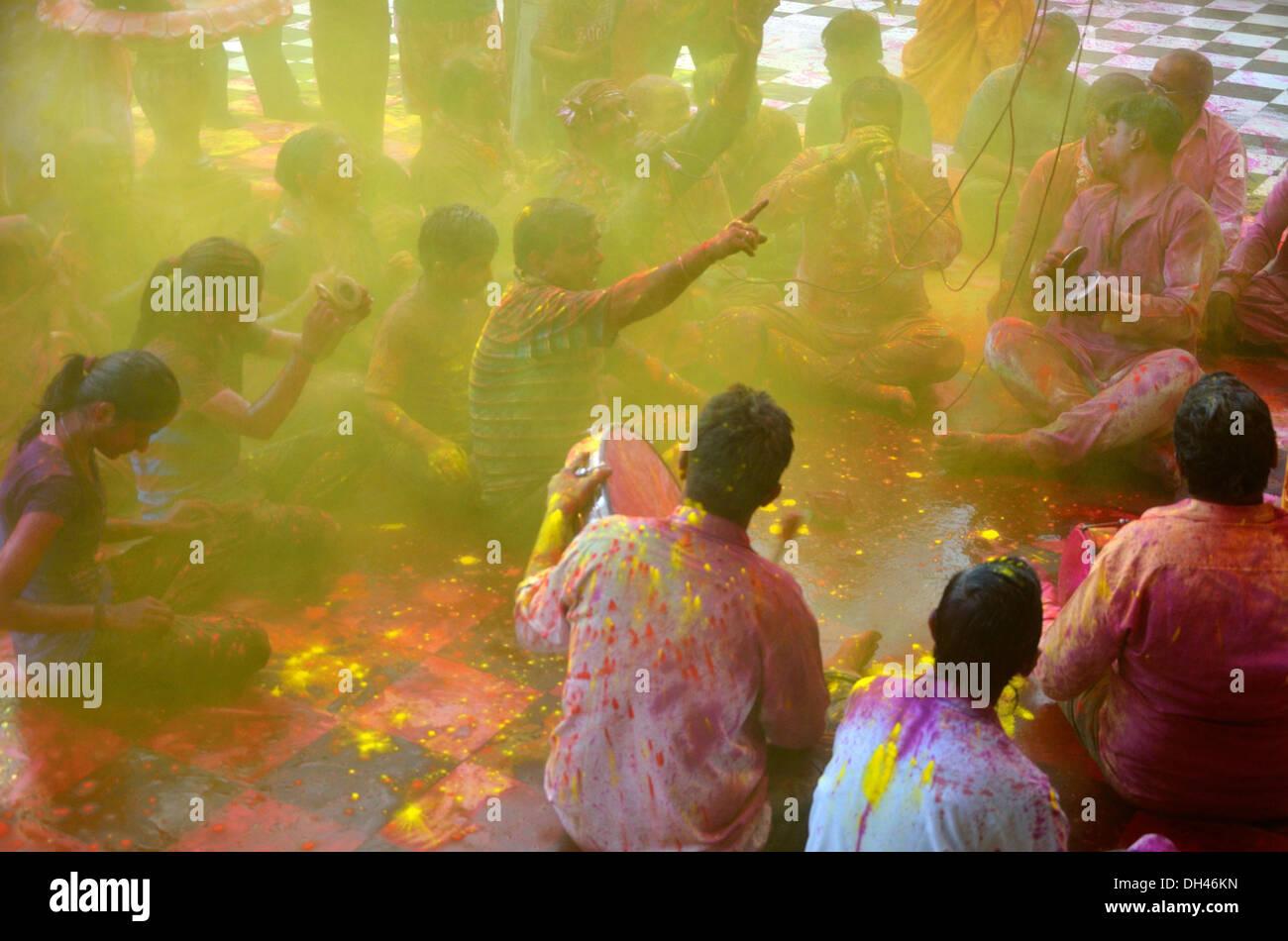 holi festival Devotees singing devotional songs in ghanshyam temple Jodhpur Rajasthan India Asia - Stock Image