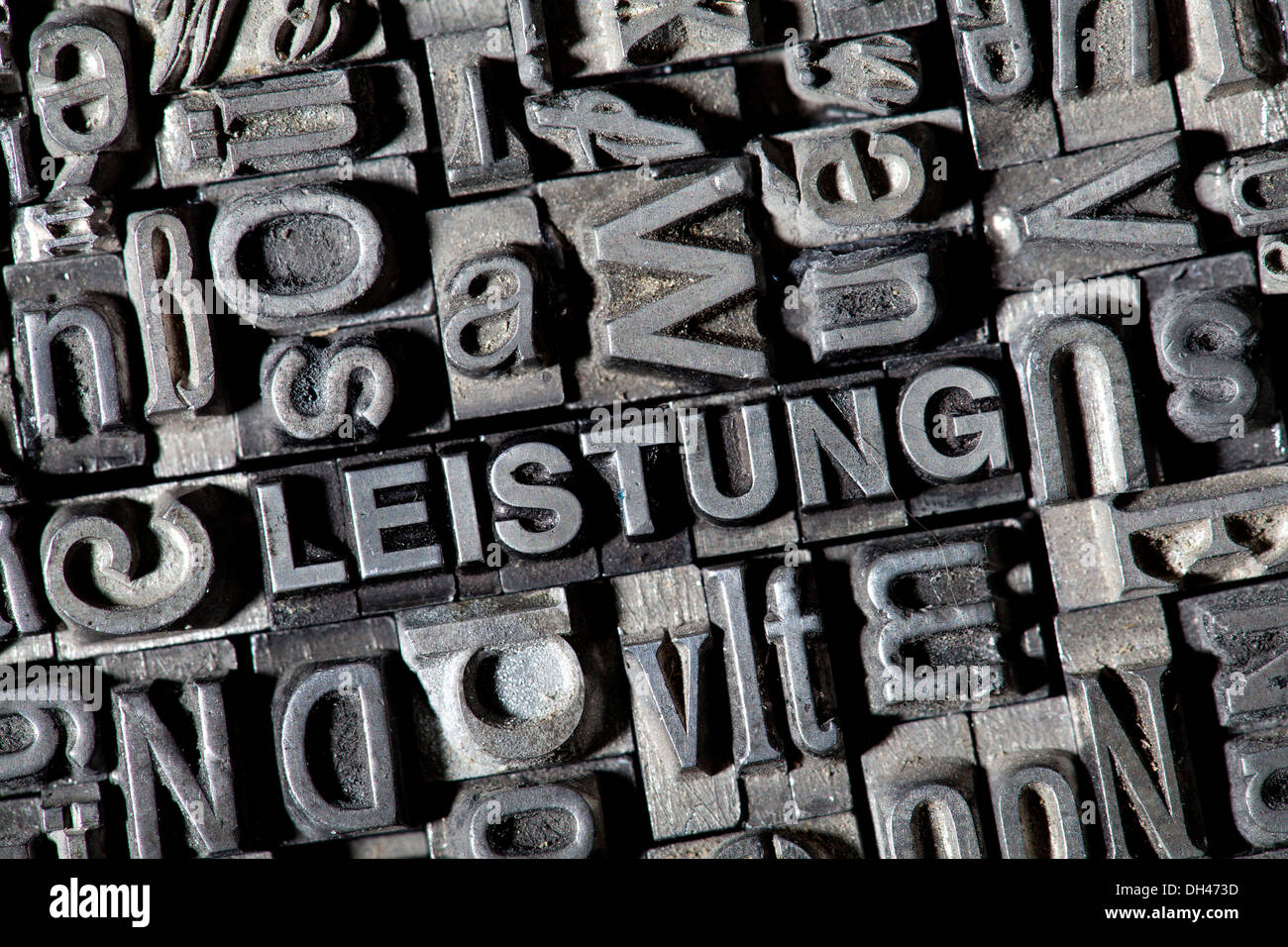 Old lead letters forming the word 'LEISTUNG', German for 'POWER' - Stock Image
