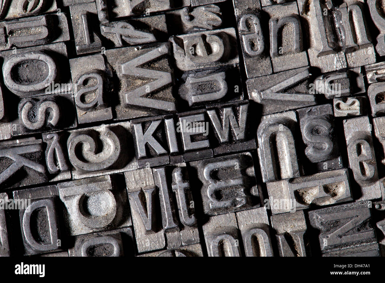 Old lead letters forming the word 'KIEW', German for 'KIEV' - Stock Image