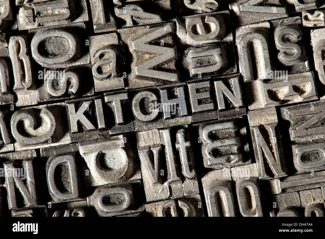 Old lead letters forming the word u0026quotKITCHENu0026quot