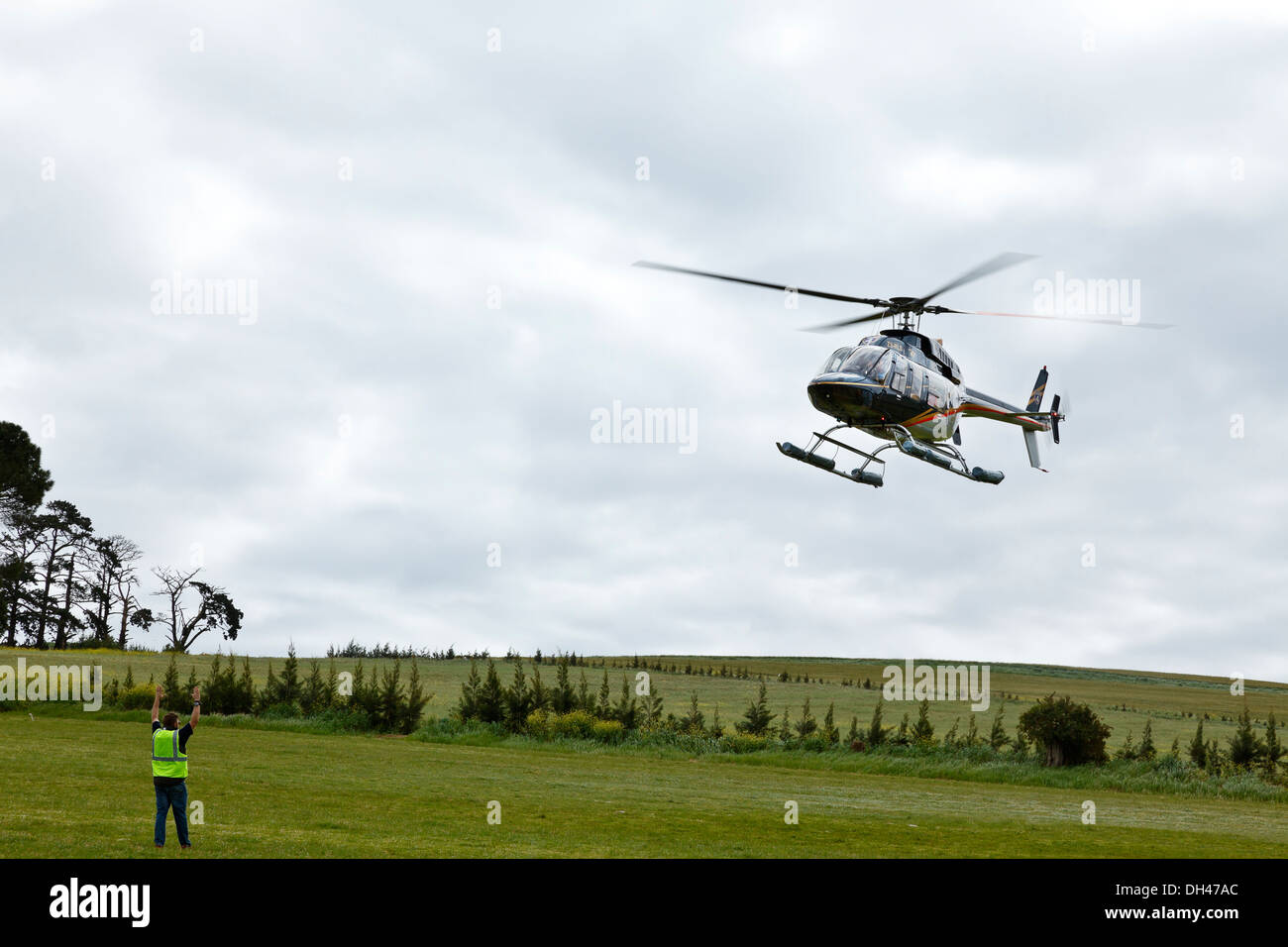 Bell 407 Helicopter Aircraft Aviation Stock Photos & Bell