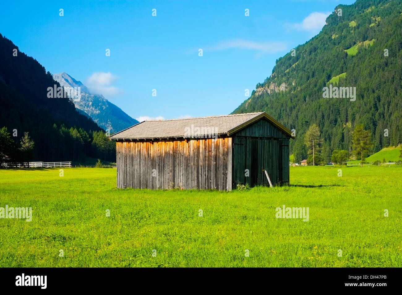 Hayloft in Aurina Valley, south Tirol, Italy - Stock Image