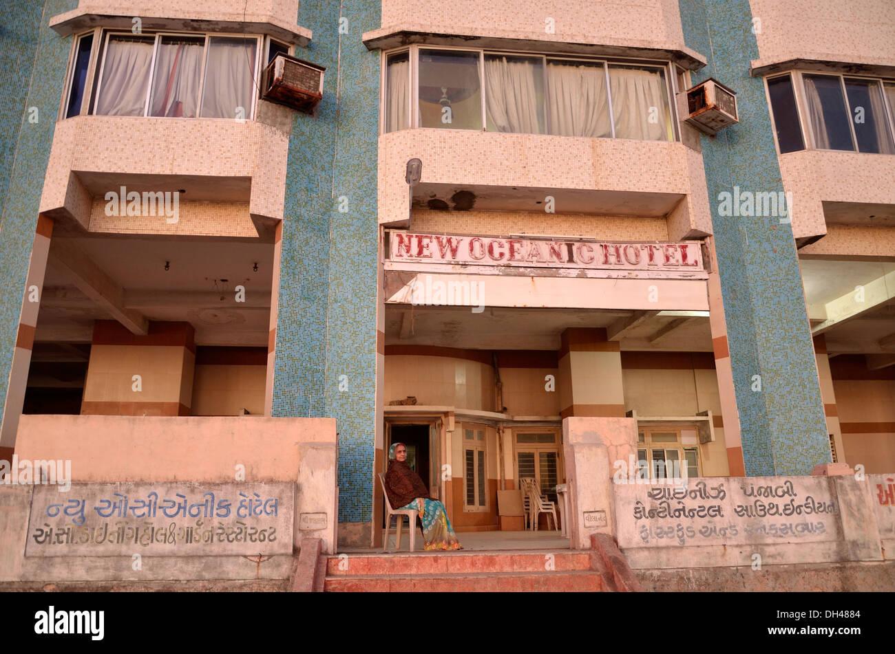 new oceanic hotel building Porbandar Gujrat India Asia - Stock Image
