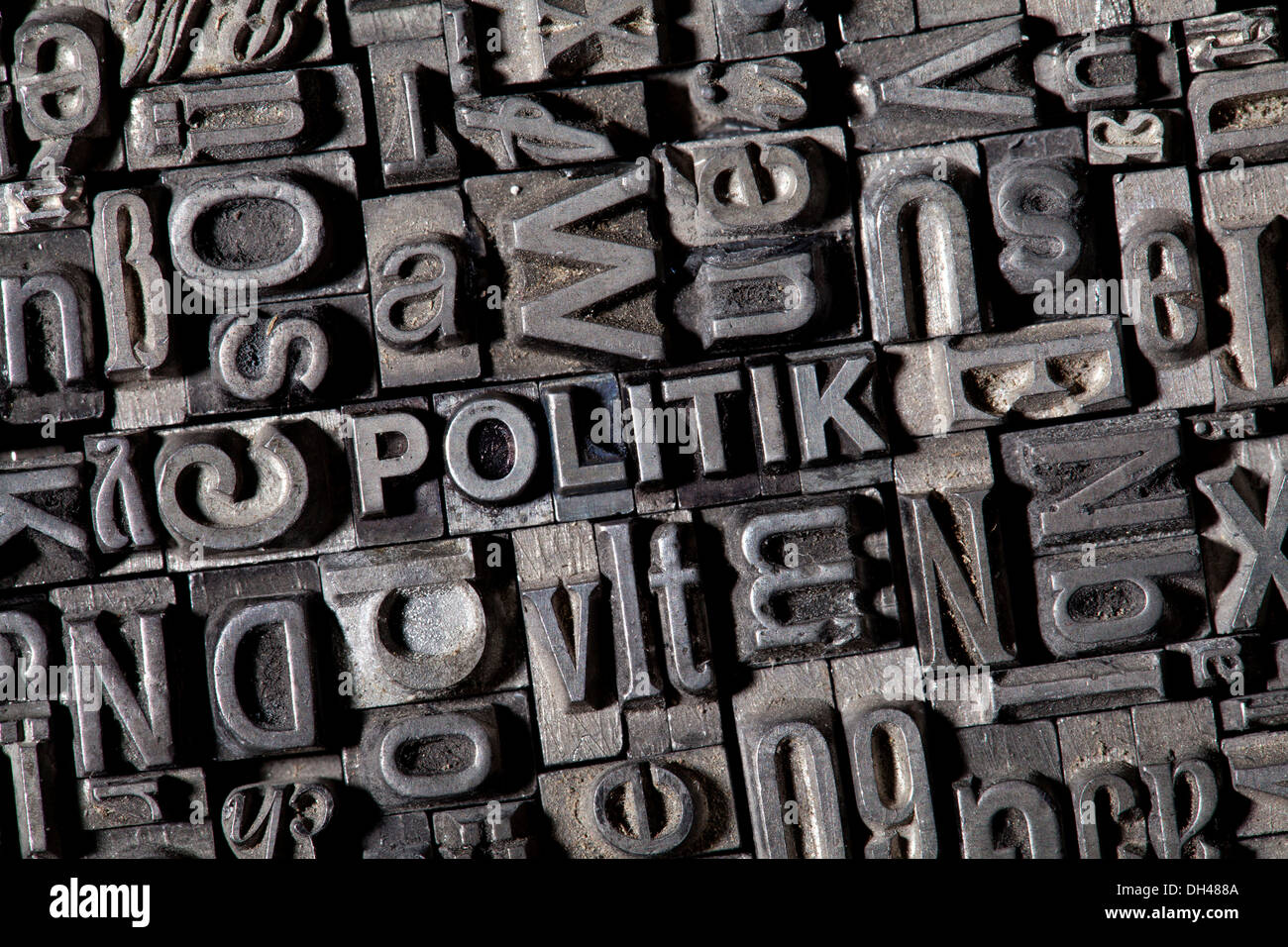 Old lead letters forming the word 'POLITIK', German for 'POLITICS' - Stock Image