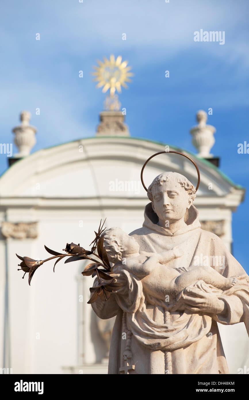 Statue on Trinity Column in Szechenyi Square, Gyor, Western Transdanubia, Hungary - Stock Image