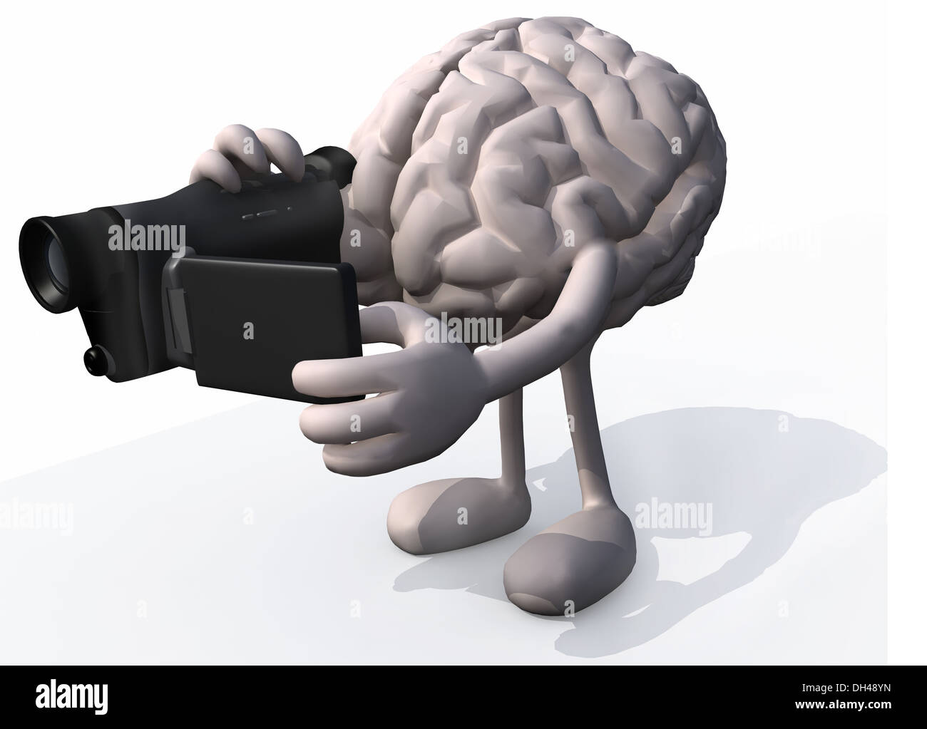 human brain with arms, legs and digital video camera while framing ...